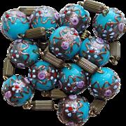 Venetian Italian Glass Wedding Cake Bead Vintage Necklace - Aqua or Turquoise Blue Color
