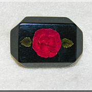 Gorgeous CARVED LUCITE Unusual Red & Black Rose Vintage Estate Brooch