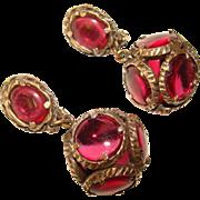 Fabulous TRIFARI Ruby Glass Jewels Estate Clip Earrings