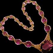 Fabulous ART DECO Czech Purple Glass Necklace