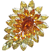 Gorgeous Yellow & Amber Rhinestone Vintage Brooch