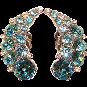 Fabulous BOGOFF Signed Aqua Rhinestone Vintage Clip Earrings