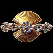 Gorgeous KREMENTZ Signed Blue Rhinestone Brooch