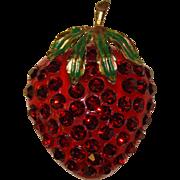 Fabulous FORBIDDEN FRUIT Lucite & Rhinestone Strawberry Brooch