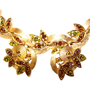 Fabulous TRIFARI Vintage Topaz Brown & Peridot Green Rhinestone Bracelet Set