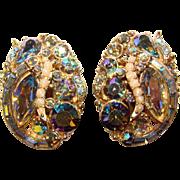 Fabulous HOLLYCRAFT Signed DARK AURORA Rhinestone Clip Earrings - Copr. 1957