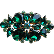 Gorgeous Green Rhinestone Vintage Brooch