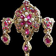 Fabulous DODDS Signed Pink & Red Aurora Rhinestone Vintage Set - Brooch or Pendant & Earrings