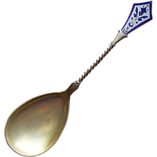 Antique Victorian Sterling & Enamel Serving Spoon