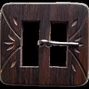 Large Carved Wood Vintage Belt Buckle