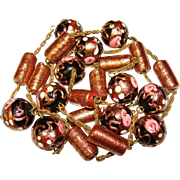 Venetian Italian Glass Wedding Cake Bead Vintage Necklace - Black & Pink with Gold Sparkle
