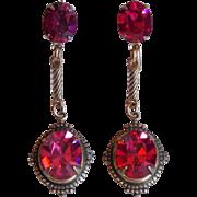 Gorgeous Pink Rhinestone Vintage Dangle Earrings