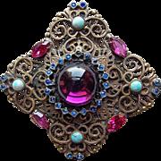 Fabulous Filigree Glass & Rhinestone Vintage Brooch - Purple Pink Blue Turquoise