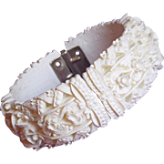 Gorgeous Celluloid Feather Weight Vintage Clamper Bracelet