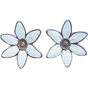 Sterling & Enamel Scandinavian Flower Vintage Earrings - Norway or Denmark