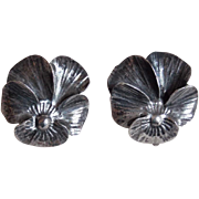 Nye Sterling Pansy Vintage Earrings