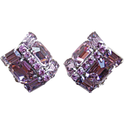 Gorgeous Lavender Rhinestone Vintage Earrings