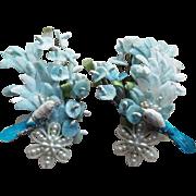 Huge LOOK AT ME Bird & Flower Vintage Earrings - Ear Climber
