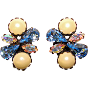 Gorgeous BLUE RHINESTONE Vintage Clip Earrings