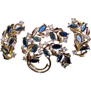 Awesome BLUE RHINESTONE Brooch & Clip Earrings Set