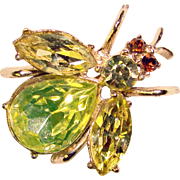 Awesome INSECT Design Vintage Rhinestone Brooch