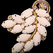 Gorgeous WHITE MILKGLASS Vintage Rhinestone Brooch