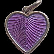 Denmark Sterling & Purple Enamel Heart Vintage Pendant or Charm - Volmer Bahner