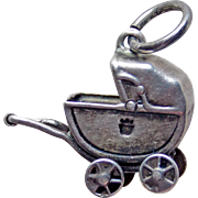 Sterling Baby Buggy Mechanical Wheels Vintage Charm