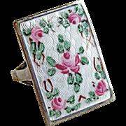 Guilloche Enamel Custom Made Vintage Ring - Sterling & Metal 7 1/2