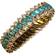 Fabulous AQUA & CLEAR Rhinestone Expansion Vintage Bracelet