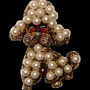 Fun Vintage Faux Pearl DOG Design Brooch