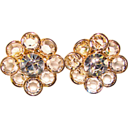 Fabulous CRYSTAL STONES Rhinestone Estate Clip Earrings