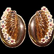 Awesome COLOR RHINESTONE Huge Vintage Flowered Clip Earrings