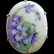 Antique Victorian Handpainted Porcelain Violets Brooch