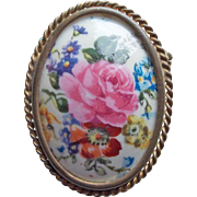 Signed LIMOGES FRANCE Porcelain Vintage Brooch - Pink Rose and Flowers