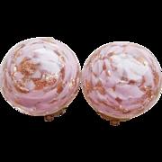 Gorgeous Venetian Glass Murano Pink Vintage Earrings