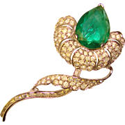 Fabulous FLAWED EMERALD Glass Vintage Rhinestone Brooch