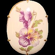 Gorgeous Vintage PANSY Design Porcelain Brooch