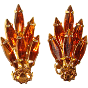 Fabulous TOPAZ Rhinestone Navette Clip Earrings