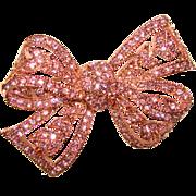 Gorgeous KENNETH LANE Signed KJL Pink Rhinestone Brooch
