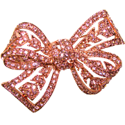 Gorgeous KENNETH LANE Signed KJL Pink Rhinestone Brooch
