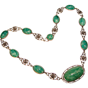 Fabulous ART DECO Sterling & Green Glass Stones Necklace