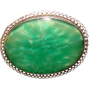 Gorgeous ART DECO Sterling Green Glass Brooch