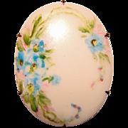 Antique Porcelain BLUE FLOWERS Handpainted Brooch