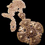 Vintage STERLING Crusaders Cross Pendant Necklace