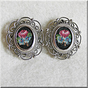 Pretty PETIT POINT Filigree Vintage Estate Clip Earrings