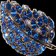 Gorgeous WEISS Signed Blue Rhinestone Brooch