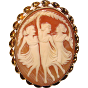 Fabulous THREE GRACES Carved Shell Cameo Vintage Brooch