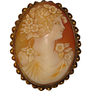 Fabulous Large CARVED SHELL CAMEO Vintage Estate Brooch