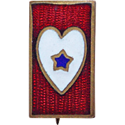 WWI Antique Son in Service Enamel Sweetheart Pin - Star in Heart